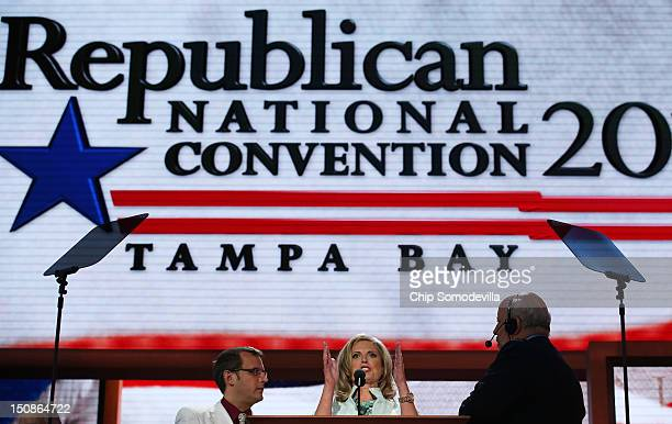 Republican presidential candidate former Massachusetts Gov Mitt Romney's wife Ann Romney speaks on stage for a soundcheck before the start of the...