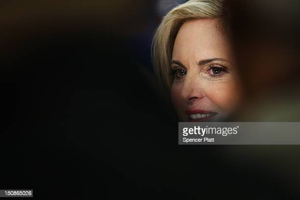 Republican presidential candidate former Massachusetts Gov Mitt Romney's wife Ann Romney appears on stage for a soundcheck before the start of the...