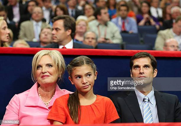 Republican presidential candidate former Massachusetts Gov Mitt Romney's wife Ann Romney sits in the VIP box with her granddaughter Chloe Romney and...
