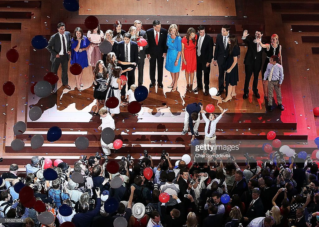 Republican presidential candidate, former Massachusetts Gov. Mitt Romney with his wife, Ann Romney and Republican vice presidential candidate, U.S. Rep. Paul Ryan (R-WI) and his wife, Janna Ryan, with their families stand on stage as balloons drop after accepting the nomination during the final day of the Republican National Convention at the Tampa Bay Times Forum on August 30, 2012 in Tampa, Florida. Former Massachusetts Gov. Mitt Romney was nominated as the Republican presidential candidate during the RNC which will conclude today.