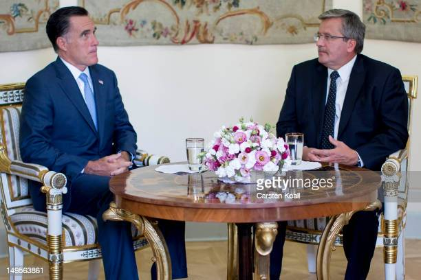 S Republican presidential candidate former Massachusetts Governor Mitt Romney meets President Bronislaw Komorowski on July 31 2012 in Warsaw Poland...
