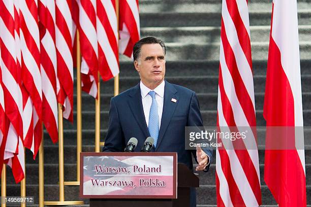 S Republican presidential candidate former Massachusetts Governor Mitt Romney speaks in the Hall of the University of Warsaw Library on July 31 2012...