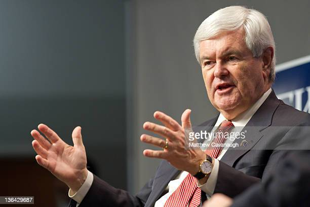 Republican presidential candidate former Speaker of the House Newt Gingrich speaks during an interview at the New Hampshire Institute of Politics at...
