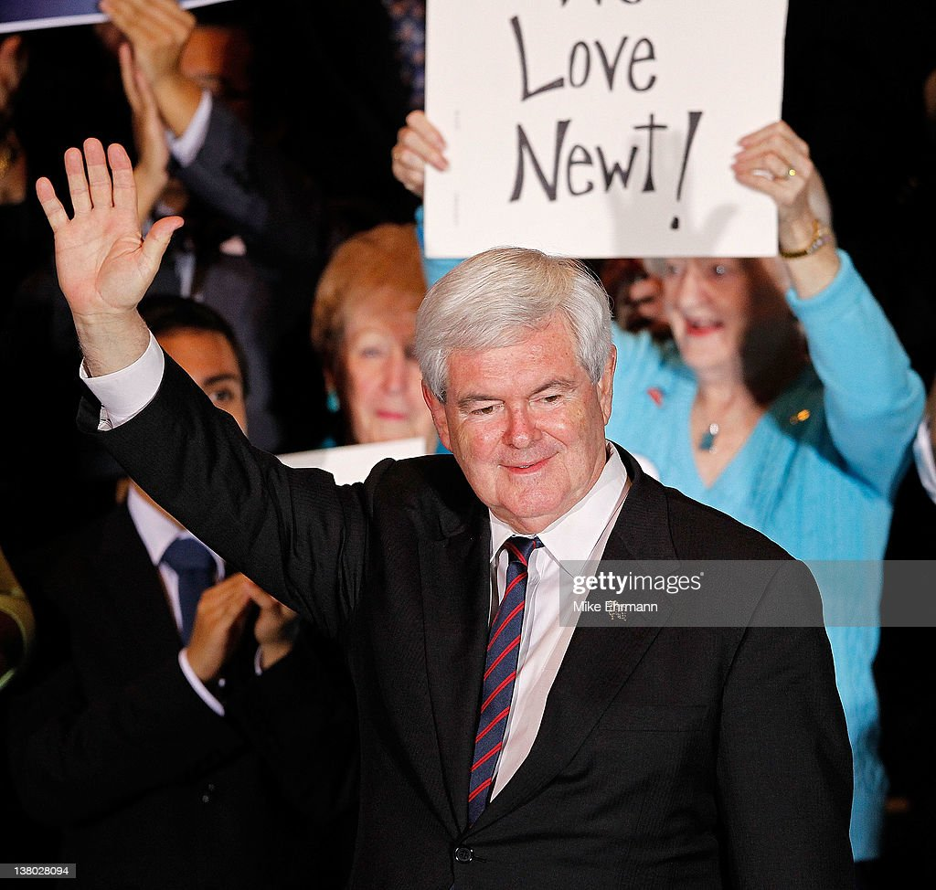 Republican presidential candidate, former Speaker of the House Newt Gingrich attends his Florida primary night party January 31, 2012 in Orlando, Florida. According to early results former Massachusetts Gov. Mitt Romney defeated Gingrich, former U.S. Sen. Rick Santorum and U.S. Rep. Ron Paul (R-TX) to win Florida's primary.