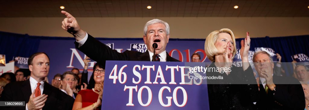 Republican presidential candidate, former Speaker of the House Newt Gingrich speaks as his wife Callista looks on during his Florida primary night party January 31, 2012 in Orlando, Florida. According to early results former Massachusetts Gov. Mitt Romney defeated Gingrich, former U.S. Sen. Rick Santorum and U.S. Rep. Ron Paul (R-TX) to win Florida's primary.