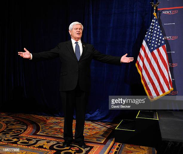 Republican presidential candidate former Speaker of the House Newt Gingrich leaves the podium after a news conference at The Venetian on February 4...