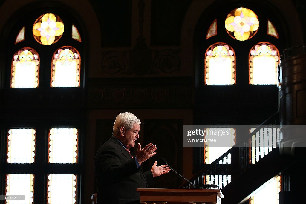 Republican presidential candidate, former Speaker of the House, Newt Gingrich delivers remarks to students at Georgetown University March 28, 2012 in Washington, DC. The Gingrich campaign announced yesterday that they were cutting a third of their campaign staff and reducing their campaign travel significantly.