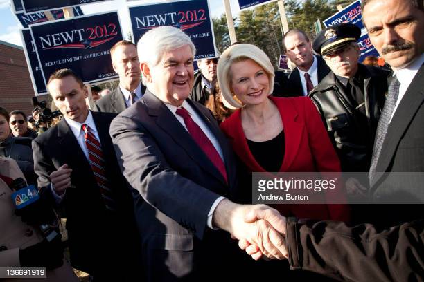 Republican presidential candidate former Speaker of the House of Representatives Newt Gingrich and his wife Callista Gingrich meet supporters outside...