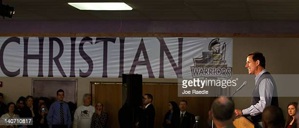 Republican presidential candidate, former U.S. Sen. Rick Santorum speaks during a campaign rally at the Dayton Christian School on March 5, 2012 in...