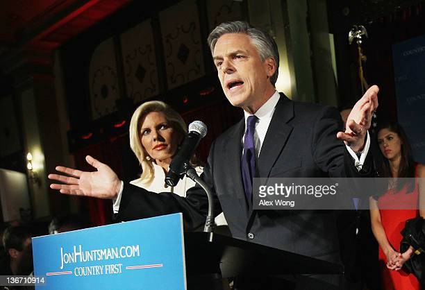 Republican presidential candidate former Utah Gov Jon Huntsman speaks at his primary night rally as his wife Mary Kaye Huntsman looks on at the The...