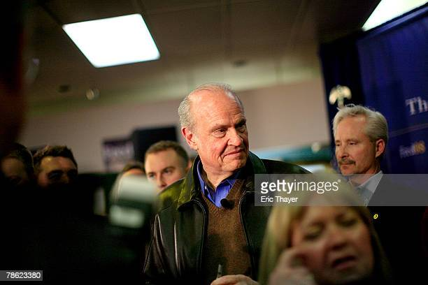 Republican presidential candidate Fred Thompson greets supporters at a campaign event at the Webster County Republican headquarters December 21 2007...