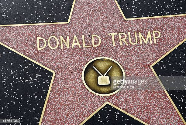 Republican presidential candidate frontrunner Donald Trump's star on the Hollywood Walk of Fame in seen, September 10, 2015 in Hollywood, California....