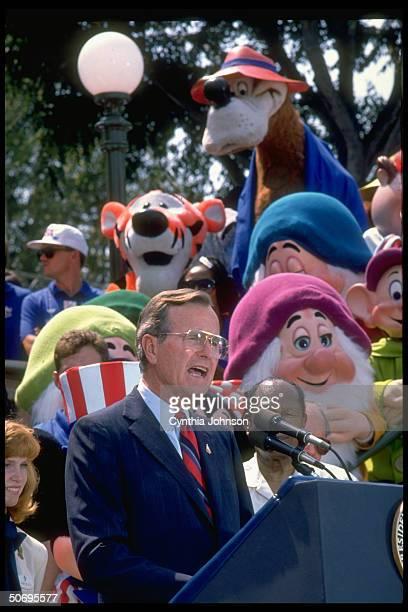 Republican presidential candidate George Bush sending off US Olympic team w speech at Disneyland