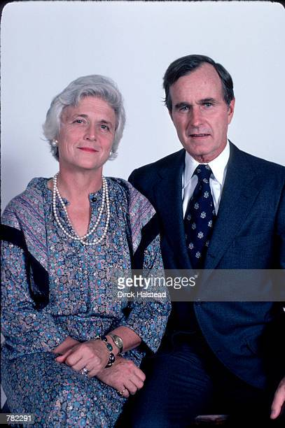 Republican Presidential candidate George Bush sits with his wife Barbara November 1 1978 in Hoston TX Bush is campaigning for the presidential...