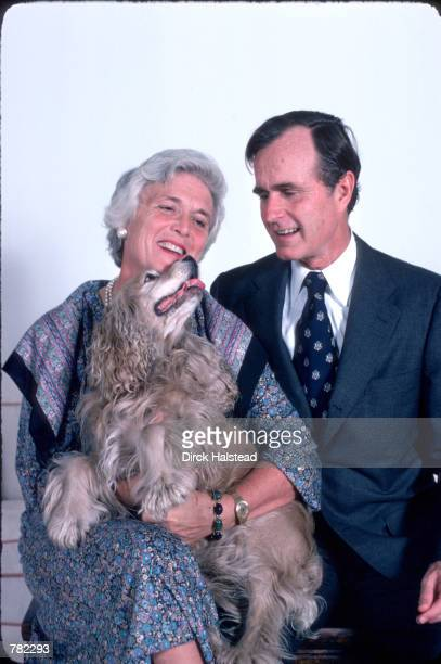 Republican Presidential candidate George Bush sits with his wife Barbara and his dog Fred November 1 1978 in Hoston TX Bush is campaigning for the...