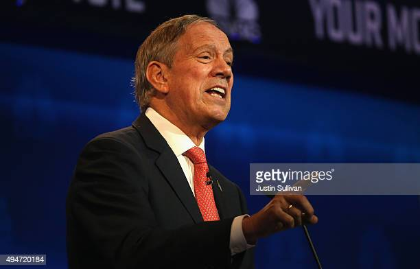 Republican presidential candidate George Pataki speaks during the CNBC Republican Presidential Debate at University of Colorado's Coors Events Center...
