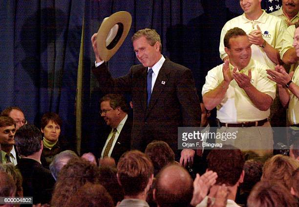 Republican Presidential candidate George W Bush arrives at the Radisson Hotel near St Louis International Airport where he was endorsed by the...