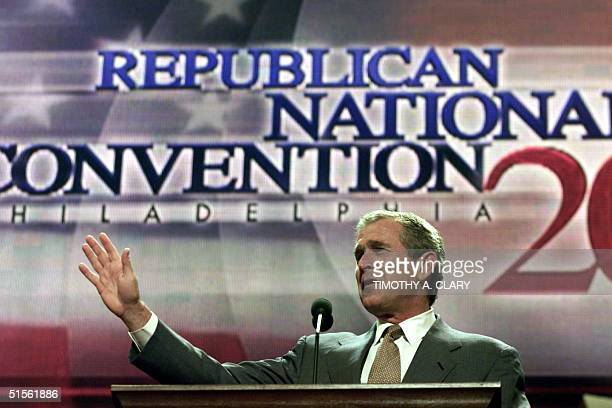 Republican presidential candidate George W Bush does a sound check before delivering his acceptance speech at the 2000 Republican National Convention...