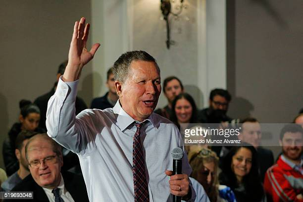 Republican presidential candidate Governor John Kasich greets to guests at the end of his a rally on April 7 2016 in New York City Kasich only has...
