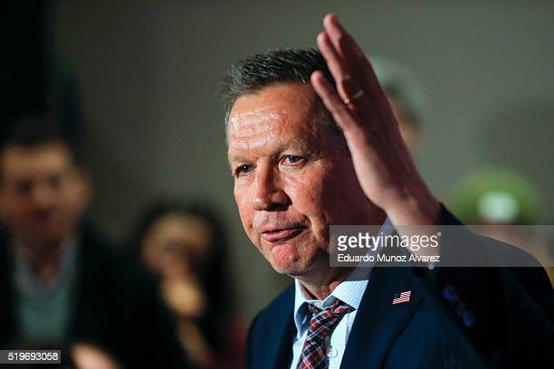 Republican presidential candidate Governor John Kasich speaks to guests at a rally on April 7 2016 in New York City Kasich only has 143 delegates of...