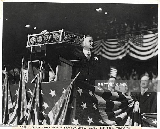 Republican presidential candidate Herbert Hoover gives a speech at the 1928 Republican National Convention at Convention Hall in Kansas City