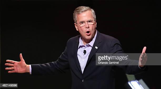 Republican presidential candidate Jeb Bush addresses central Florida pastors at a meet-and-greet hosted by the Centro Internacional de la Familia...