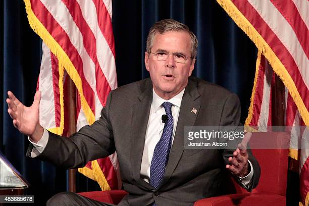 Republican presidential candidate Jeb Bush speaks at the Ronald Reagan Presidential Library August 11 2015 in Simi Valley California Bush was...