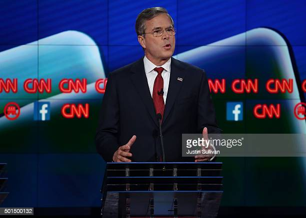 Republican presidential candidate Jeb Bush speaks during the CNN Republican presidential debate on December 15 2015 in Las Vegas Nevada This is the...
