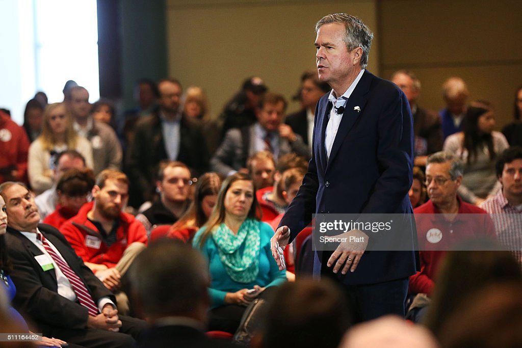 Republican presidential candidate Jeb Bush speaks to an audience of voters on February 18, 2016 in Columbia, South Carolina. Bush, who is running as a moderate, campaigned with his brother, former President George W. Bush, last Monday in an attempt to raise his polling numbers before Saturday's primary.