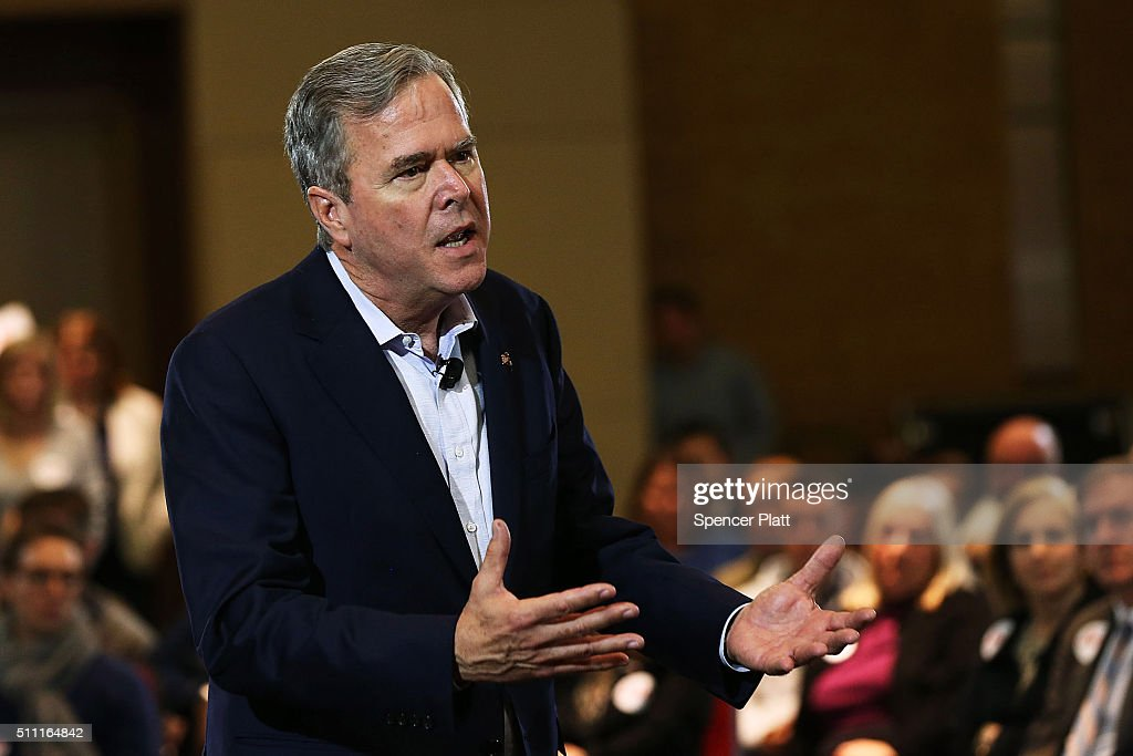 Republican presidential candidate Jeb Bush speaks to an audience of voters on February 18, 2016 in Columbia, South Carolina. Bush, who is running as a moderate in the campaign, brought out his older brother former President George W. Bush last Monday in an attempt to raise his polling numbers before Saturday's primary.