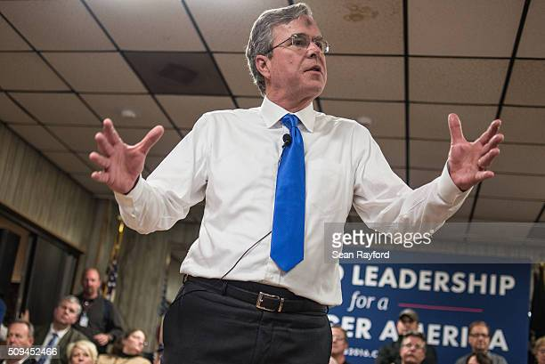 Republican presidential candidate Jeb Bush talks to the crowd at a town hall meeting at VFW Post in Murrells Inlet South Carolina The state's...