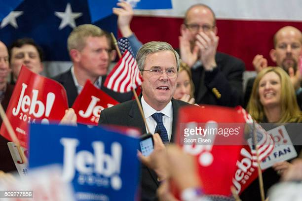 Republican presidential candidate Jeb Bush's addresses his supporters at his election night party at Manchester Community College on February 9 2016...