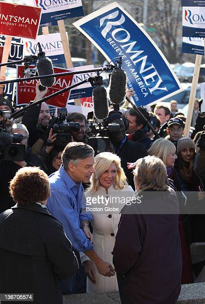 Republican presidential candidate John Huntsman and his wife Mary Kaye stopped by the Woods School polling station on Jan 10 2011 during the New...