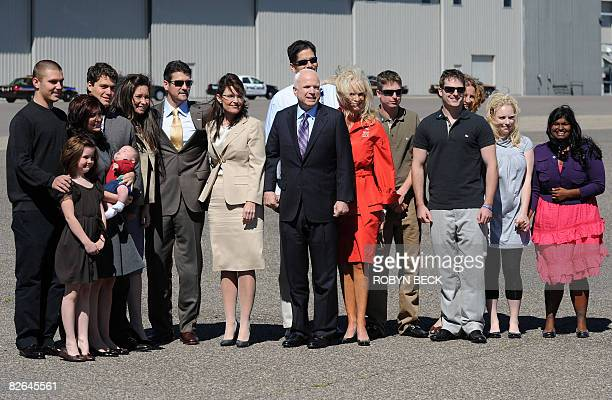 Republican presidential candidate John McCain and his running mate Alaska Governor Sarah Palin poses for a photo with their families as McCain...