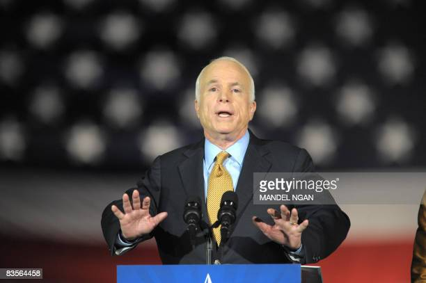Republican presidential candidate John McCain concedes defeat to Democrat Barack Obama during his election night rally at the Arizona Biltmore Resort...