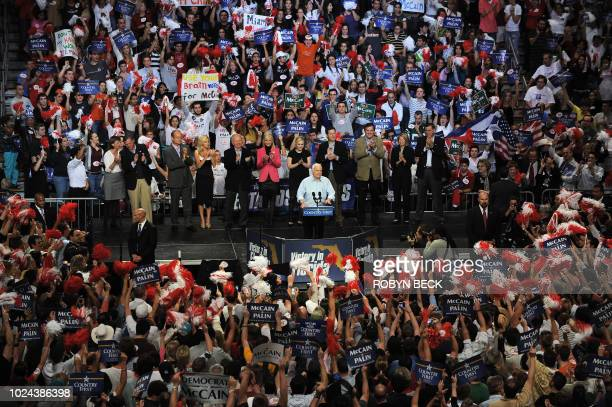 US Republican presidential candidate John McCain speaks at a midnight campaign rally at Bank United Center in Coral Gables Florida in the early...
