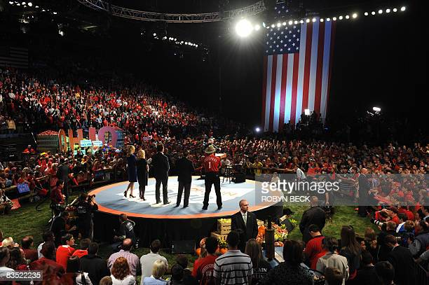 Republican presidential candidate John McCain speaks at campaign rally at Nationwide Arena in Columbus Ohio on October 31 2008 Colomus is the last...