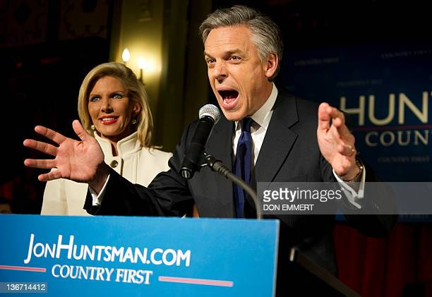 Republican presidential candidate Jon Huntsman celebrates his third place finish with his wife Mary Kaye at his election night party January 10 2012...