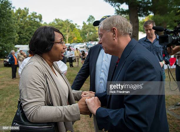 Republican presidential candidate Lindsey Graham and Candy Carson wife of Republican presidential candidate Ben Carson at the Stafford County GOP...