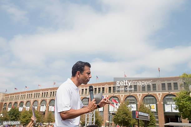 Republican presidential candidate Louisiana Governor Bobby Jindal speaks to visitors at the Iowa State Fair on August 22, 2015 in Des Moines, Iowa....