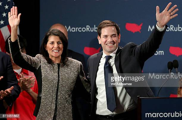 Republican presidential candidate Marco Rubio and South Carolina Gov Nikki Haley celebrate after Rubio addressed ssupporters at a primary night event...