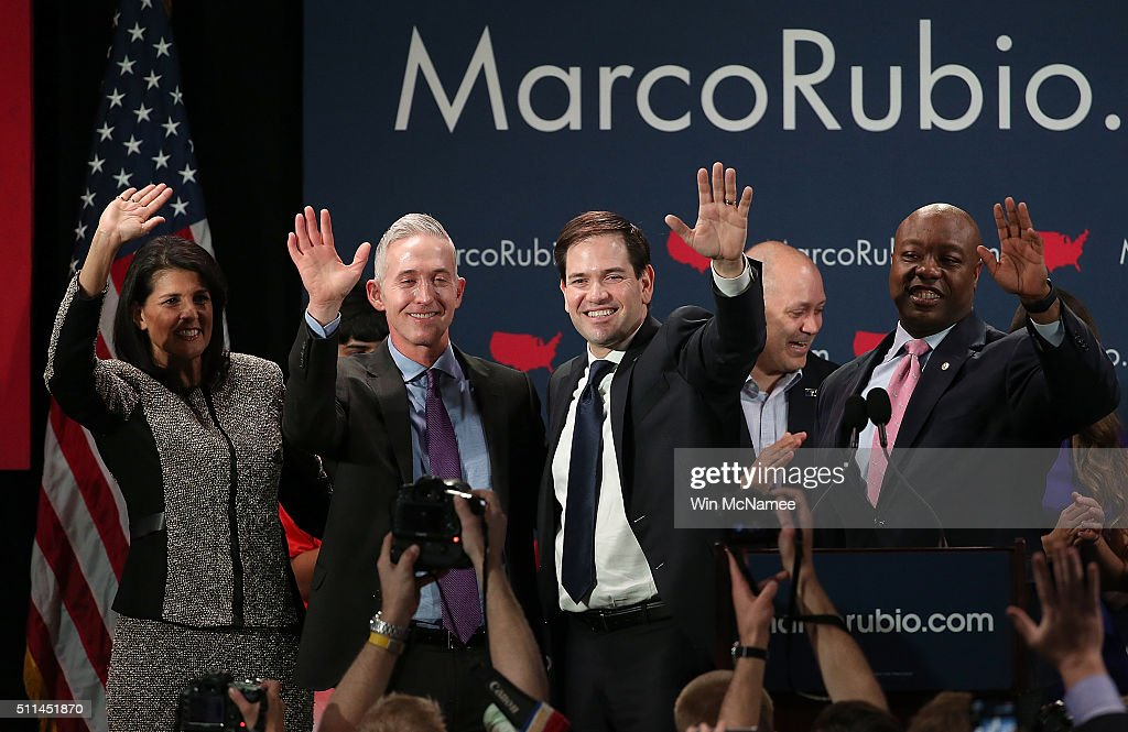 Republican presidential candidate Marco Rubio (2nd R) celebrates with (L-R) South Carolina Gov. Nikki Haley, Rep. Trey Gowdy (R-SC) and Sen. Tim Scott (R-SC) after Rubio addressed supporters at a primary night event February 20, 2016 in Columbia, South Carolina. Rubio was locked in a tight race with Sen. Ted Cruz for second place in the 'First in the South' primary.