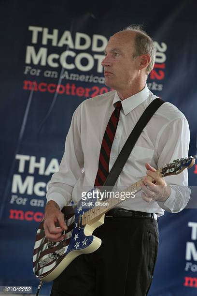 Republican presidential candidate Michigan Congressman Thaddeus McCotter entertains his supporters at the Iowa Straw Poll which is being held at Iowa...