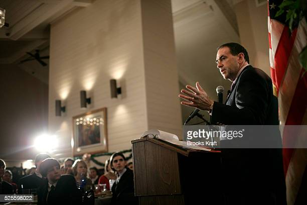 Republican Presidential candidate Mike Huckabee attends the Cheshire County Republican Committee's holiday dinner in Keene, New Hampshire.