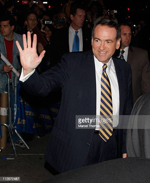 Republican presidential candidate Mike Huckabee sighting outside the Ed Sullivan Theater after appearing on Late Show with David Letterman on January...