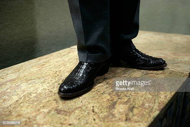 Republican Presidential candidate Mike Huckabee's boots are photographed as he speaks at a campaign event in Keene.
