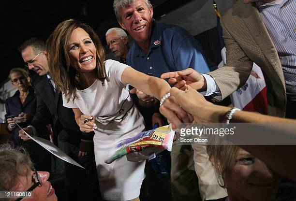 Republican presidential candidate Minnesota congresswoman Michele Bachmann greets guests at the Black Hawk County GOP Lincoln Day Dinner August 14...