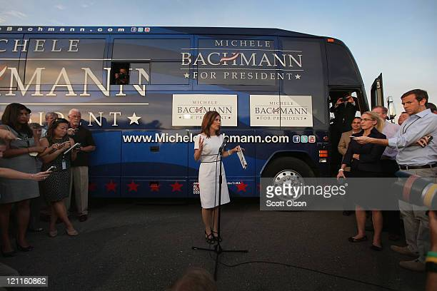 Republican presidential candidate Minnesota congresswoman Michele Bachmann takes questions as she leaves the Black Hawk County GOP Lincoln Day Dinner...