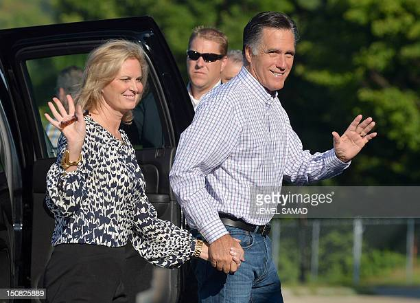 US Republican presidential candidate Mitt Romney and his wife Ann arrive at the Brewester Academy in Wolfeboro New Hampshire on August 27 2012 to...
