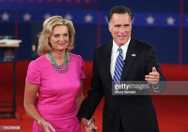 Republican presidential candidate Mitt Romney and wife Ann Romney appear on stage after a town hall style presidential debate at Hofstra University...
